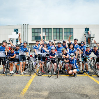 Montreal Ride to Conquer Cancer, left to right: Matthew Ward, Ricarda Haeger, Jessica Silva, Daniel Herrera, Claire More, Nadia Craig, Taylor Mactavish, Patricia Tansey, Jean Charbonneau, Michael Slawaska, Cathy Tansey, Lynn Perry, Karen Chang, Tim Koch, Melissa Yip, Erika Toth, Dominique Vincent, Andre L'Esperance