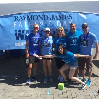Victoria, BC, Raymond James Father's Day Walk/Run for Prostate Cancer, left to right: Paul Siluch, Sharon Mitchell, Joanne Davidson, Dimitri Karatsikis, Peter Mazzoni, Hailey Lanctot