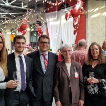 Love of Lobster, Toronto. Left to right: Joe Demassio, Senior Marketing Associate, Sarah Haney, Marketing Coordinator, Luca Sedran, Corporate Communications Manager, Chris Cooksey, Sister Mary Francesca Buczkowski, Senior VP & Portfolio Manager, Linda Shick, and Senior VP & Branch Manager, Jamie Coulter