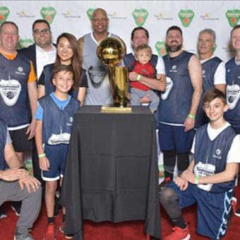 Toronto, ON, West Park Tournament of Stars, Back Row: John Levac, Dan Simunac (Managing Director & Principal Officer), Vanessa Li (Analyst, Real Estate & Corporate Banking at Raymond James), Charlie Villanueva (Raptors alum), Brian Chick (Vice President at Raymond James Bank, N.A.) and his son Mikey, Jeff Sondic, Geoff Bond, Cormac Mac Lochlainn (Senior Vice President at Raymond James Bank). Front Row: Dave MacLellan (Capital Market Sales & Trade, Institutional Sales), Todd Orzechowski Jr. and Delko Blazanin Jr.