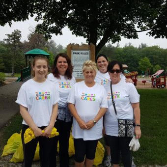 Sunnidale Park Cleanup, ON, left to right: Jackie Ramler, Rachael, Porto, Ella Hedley, Joanne Parkinson
