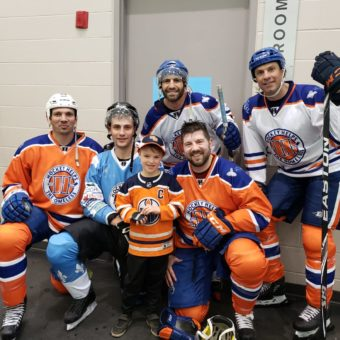 2019 RJ Cares Edmonton - Hockey Helps the Homeless Frazer Mclaren (orange),Mike Zigomanis (white), Matt Kassian (Orange), Jason Strudwick (Orange)