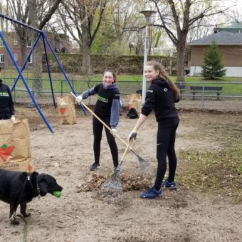 2019 RJ Cares Montreal - May 9 Parc Cleanup Isabelle Gauthier, Oceane and Laurence
