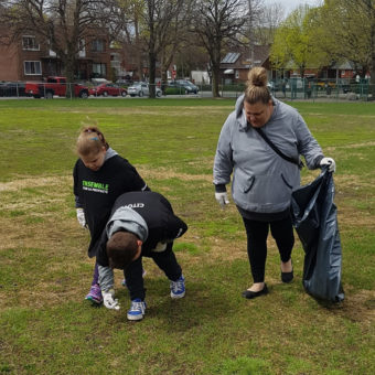2019 RJ Cares Montreal May 9 Parc Cleanup Mia Silivo and Zoe Atanasiadis