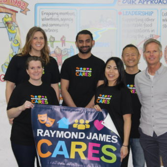 2019 RJ Cares Vancouver - Greater Vancouver Food Bank Back: Justine Hayman, Harris Ayyub, Derrick Leong, Mike Hope Front: Jennifer Provost, Carmen Tsang