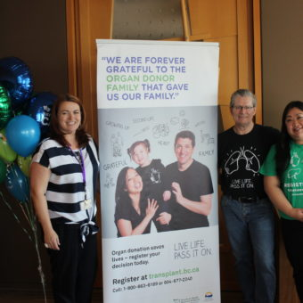 2019 RJ Cares Vancouver - BC Transplant Organ Donation L-R Janine Davies, RJCF; Darcy Murdoch, double lung recipient; Irene Phan, BC Transplant