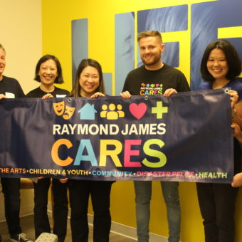 2019 RJ Cares Vancouver - Canadian Cancer Society L-R James Whealon, Shelley Mills, Leona Wong, Tom Campbell, Susan Matsunaga, Josilyn Quinto